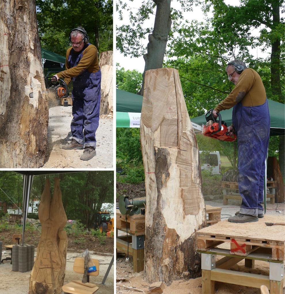 """Dieser Baumstamm wird am Ende von Sergii Mousat zu einer """"Taucherin"""" verwandelt worden sein."""