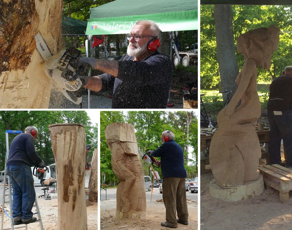 """Valeri Moskov formt aus dem rohen Holz eine sinnliche """"Dame""""."""