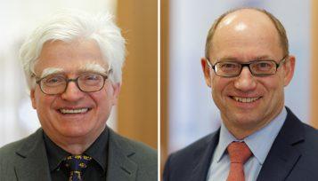 Bisheriger EUROIMMUN-Vorstandsvorsitzender Prof. Dr. Winfried Stöcker und sein Nachfolger Dr. Wolfgang Schlumberger